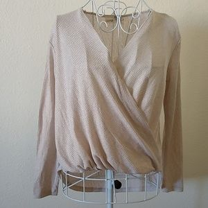 Everleigh Shimmery Beige Crossover Top